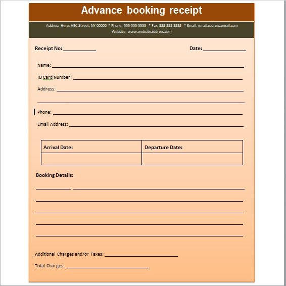 Advance Booking Receipt Template 01