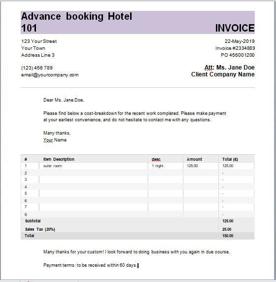 Advance Booking Receipt Template 02