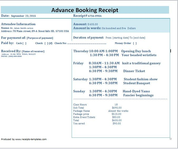 Advance Booking Receipt Template 03