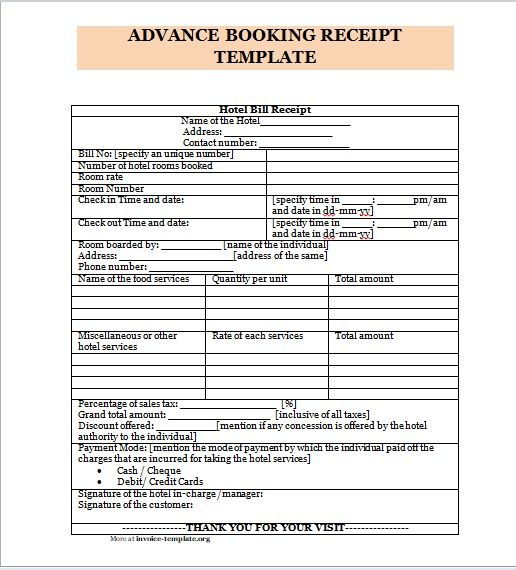 Advance Booking Receipt Template 05