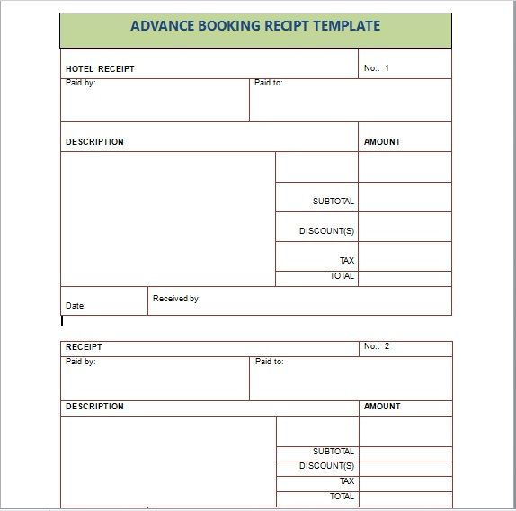 Advance Booking Receipt Template 08