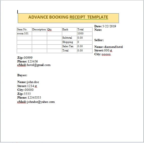 Advance Booking Receipt Template 09