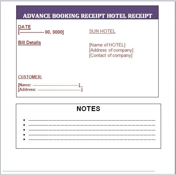 Advance Booking Receipt Template 12