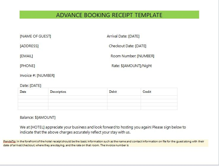 Advance Booking Receipt Template 14
