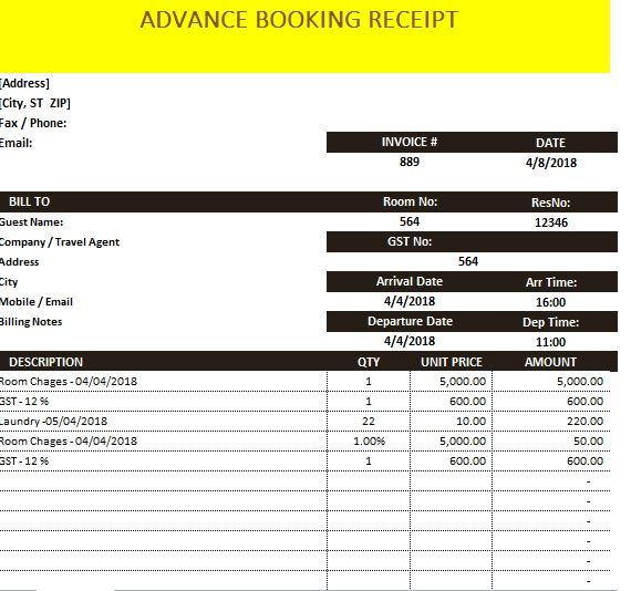 Advance Booking Receipt Template 15