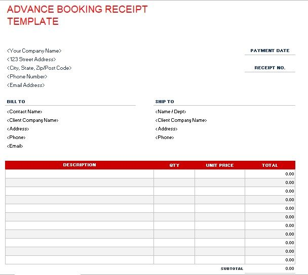 Advance Booking Receipt Template 16