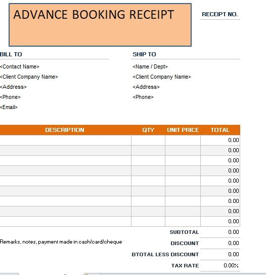 Advance Booking Receipt Template 17