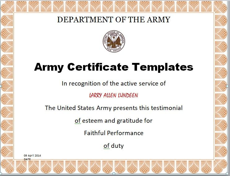 Army Certificate Template 01