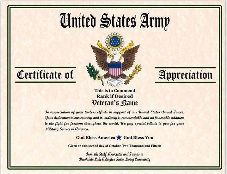 Army Certificate Template 03
