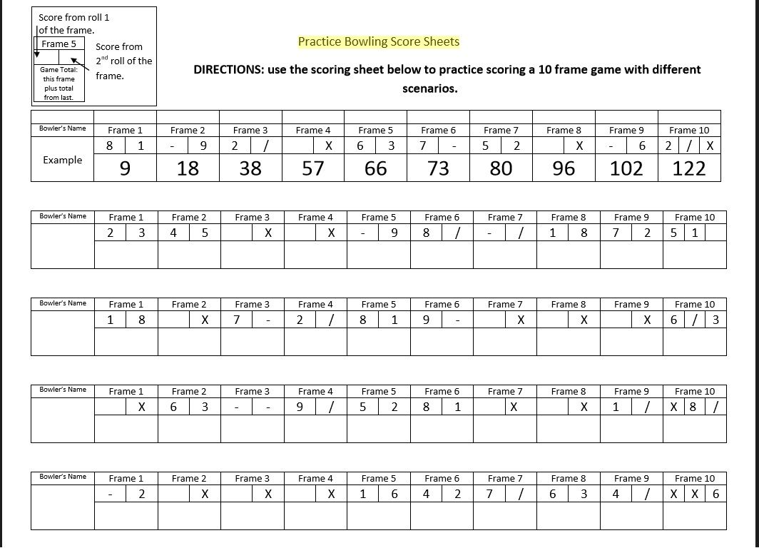 Bowling Score Sheet Template 02