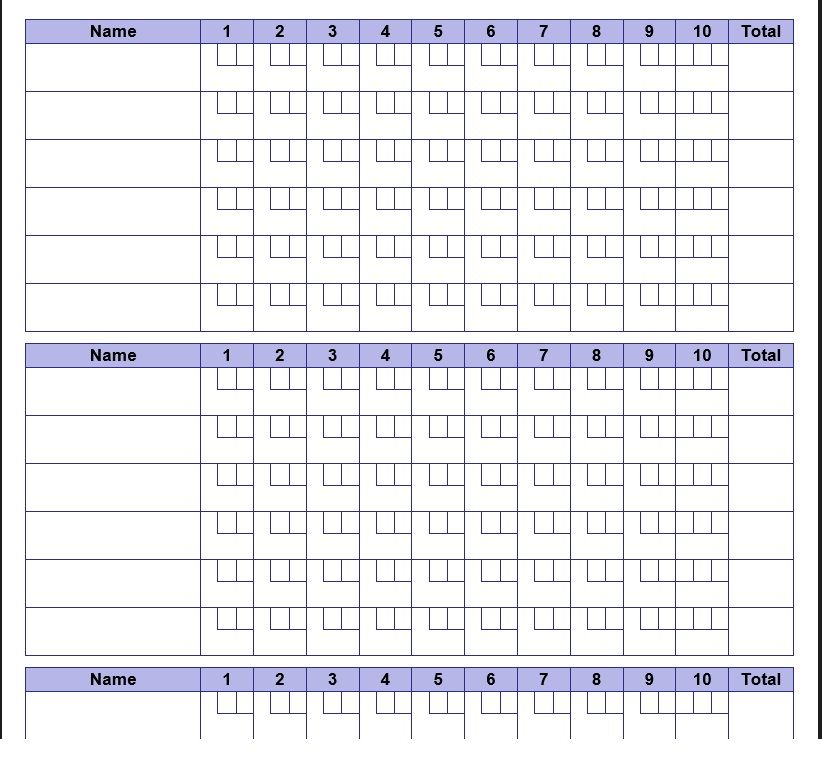 Bowling Score Sheet Template 11