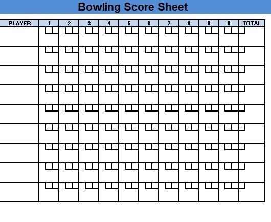 Bowling Score Sheet Template 14