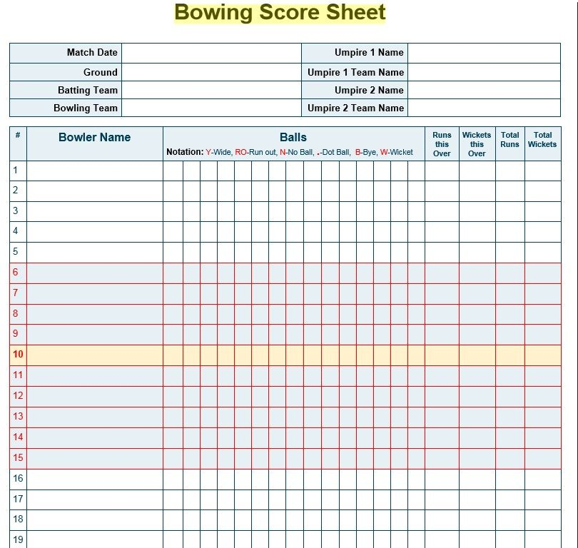 Bowling Score Sheet Template 17