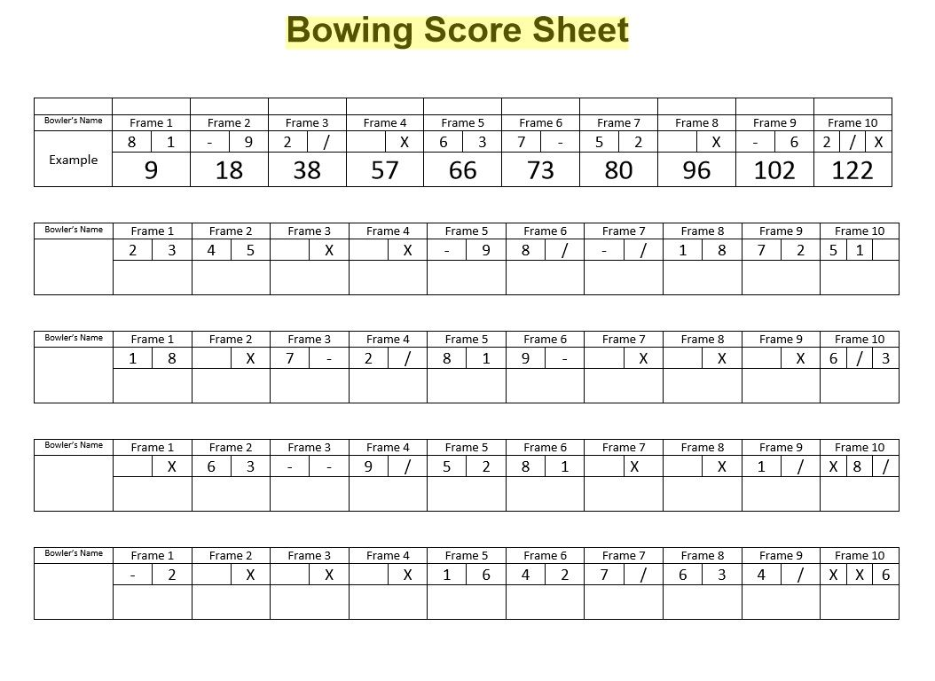 Bowling Score Sheet Template 18