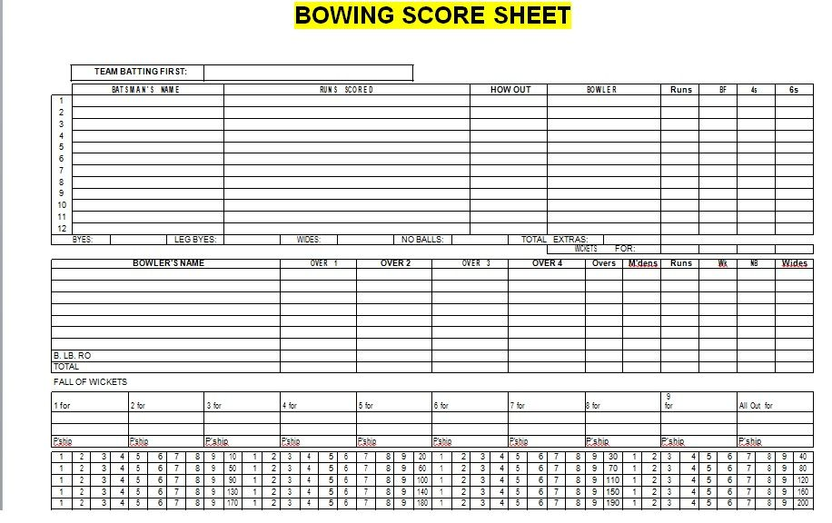 Bowling Score Sheet Template 20