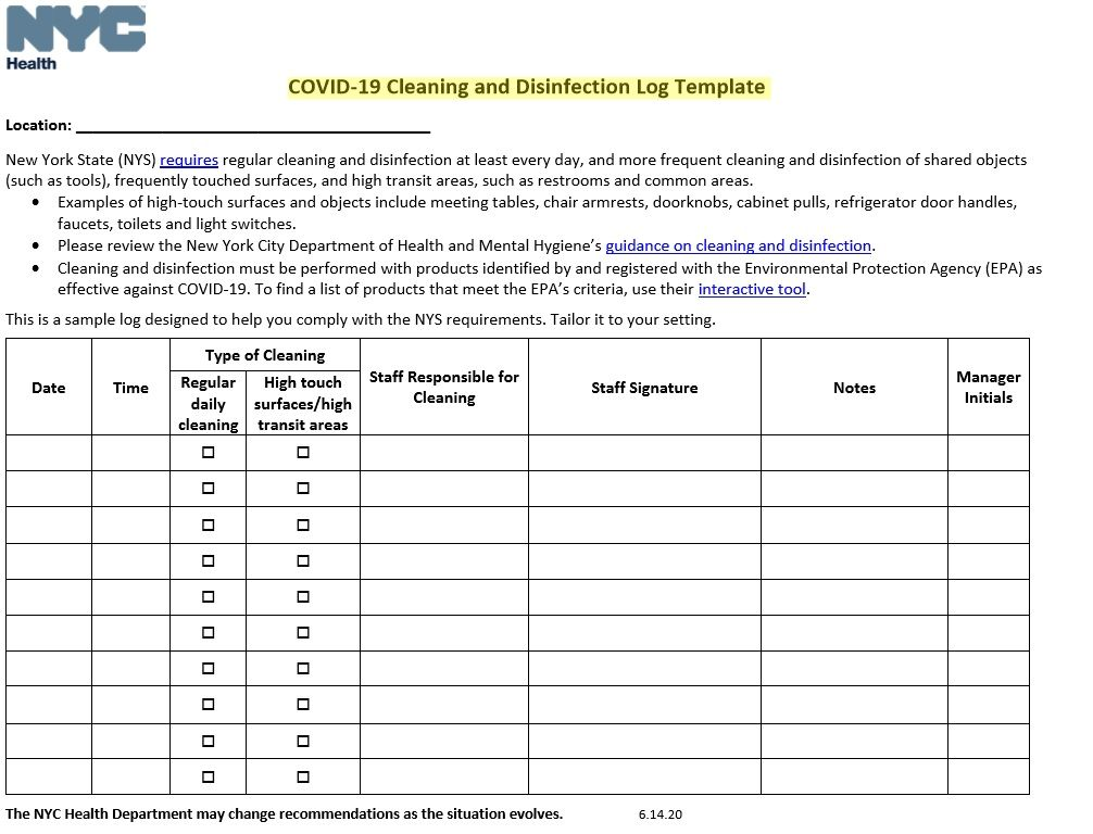 Cleaning Log Sheet Template 03
