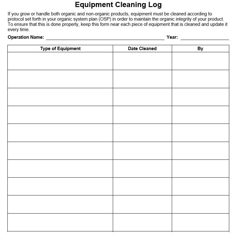 Cleaning Log Sheet Template 05