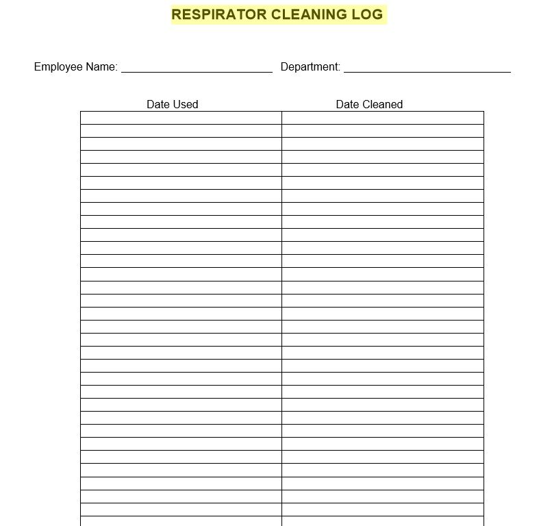 Cleaning Log Sheet Template 09