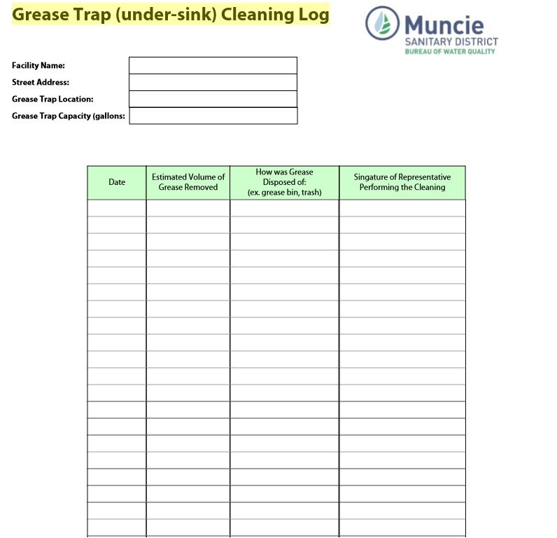 Cleaning Log Sheet Template 10