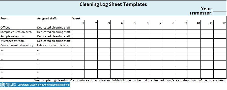 Cleaning Log Sheet Template 11