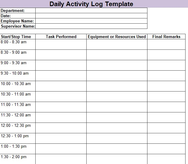 Daily Activity Log Template 01