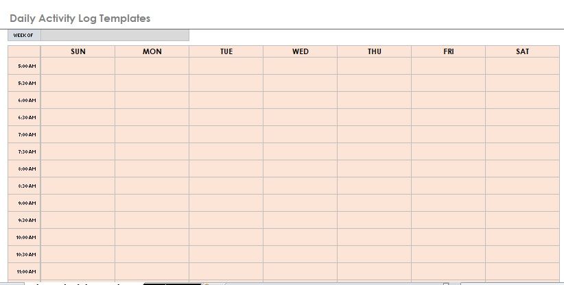 Daily Activity Log Template 02