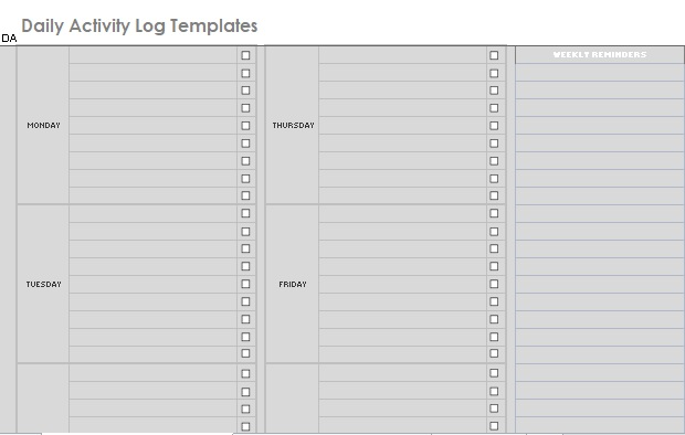 Daily Activity Log Template 03