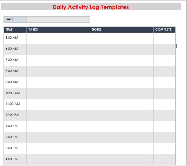Daily Activity Log Template 04
