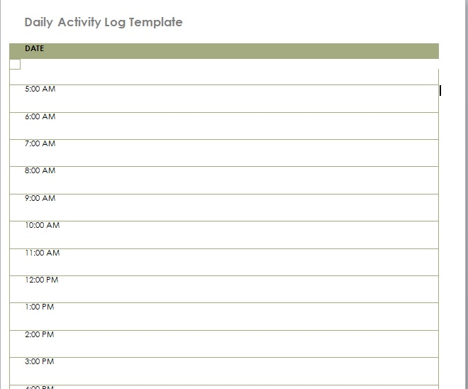 Daily Activity Log Template 08