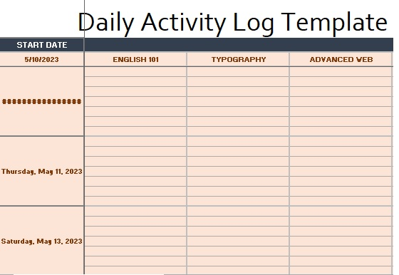 Daily Activity Log Template 11