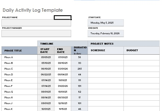 Daily Activity Log Template 13