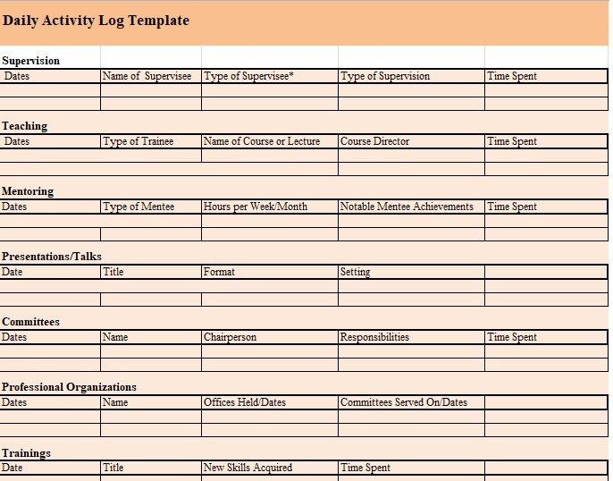 Daily Activity Log Template 19