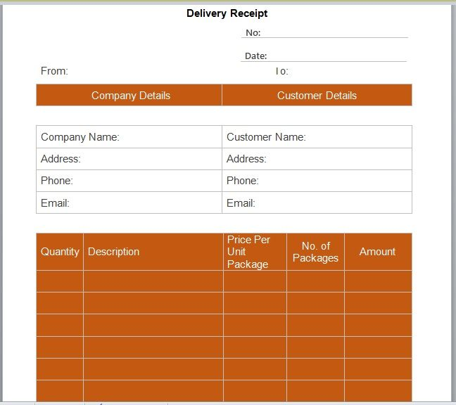 Goods Delivery Receipt Template 01