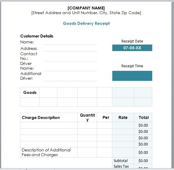 Goods Delivery Receipt Template 02