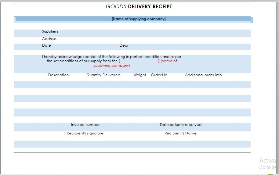 Goods Delivery Receipt Template 03