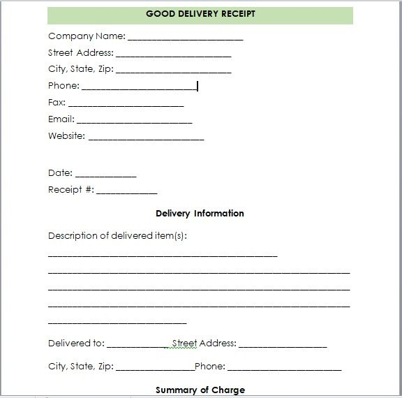 Goods Delivery Receipt Template 04