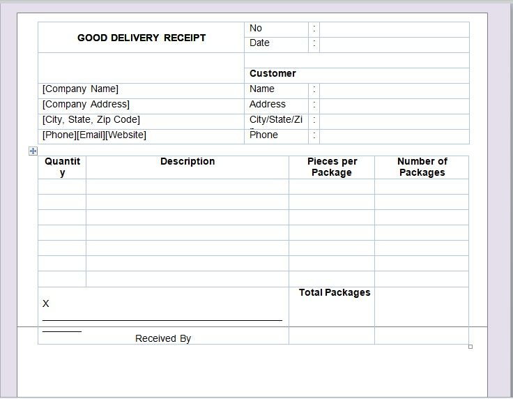 Goods Delivery Receipt Template 05