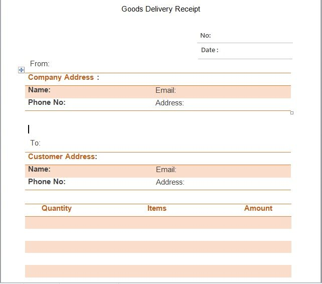 Goods Delivery Receipt Template 09