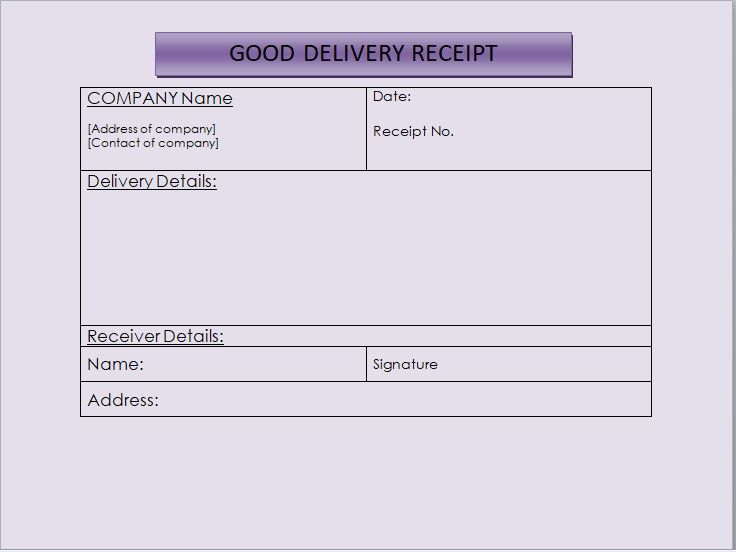 Goods Delivery Receipt Template 16