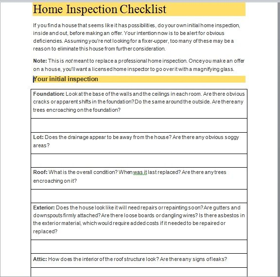 Home Inspection Checklist Template 01