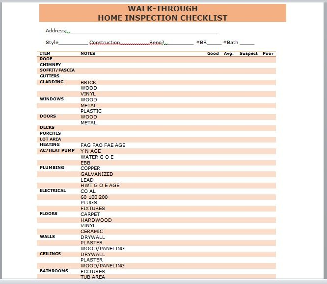 Home Inspection Checklist Template 02