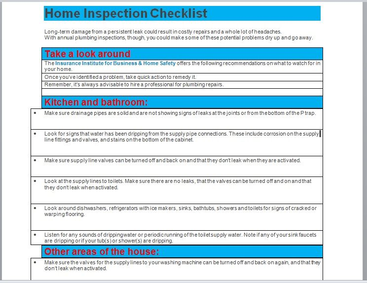 Home Inspection Checklist Template 04