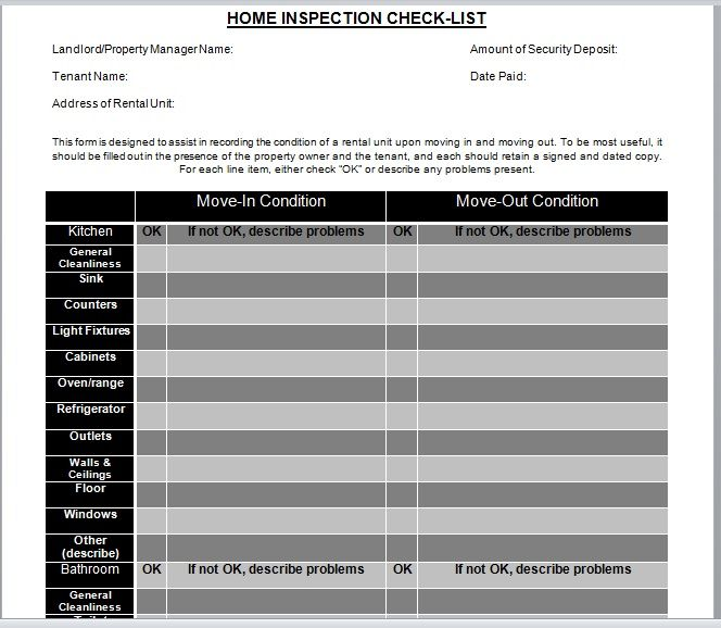 Home Inspection Checklist Template 08
