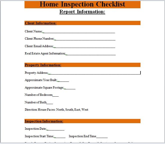 Home Inspection Checklist Template 13