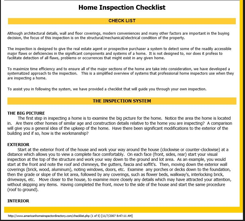 Home Inspection Checklist Template 25