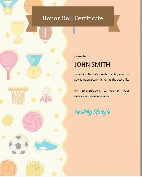 Honor Roll Certificate Template 01