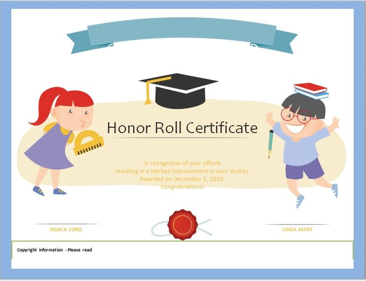 Honor Roll Certificate Template 02