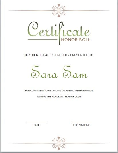 Honor Roll Certificate Template 05