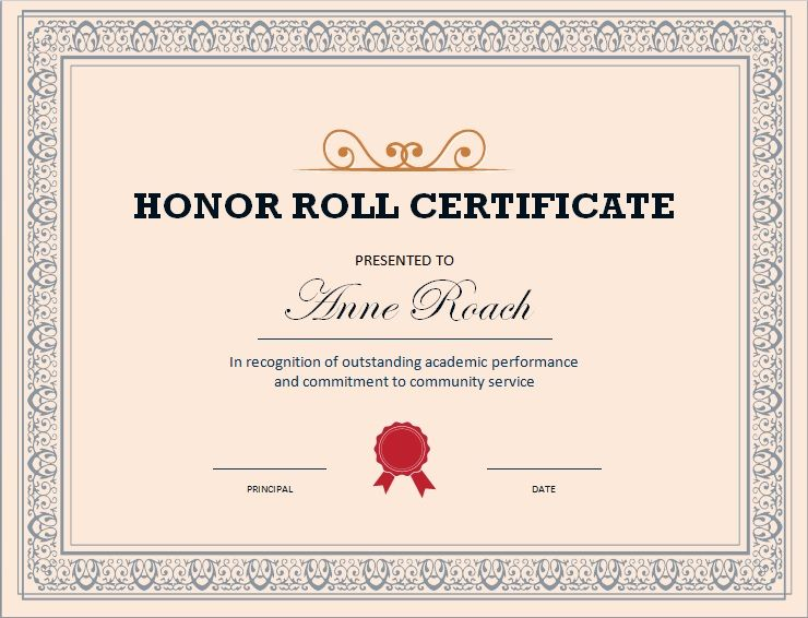 Honor Roll Certificate Template 06