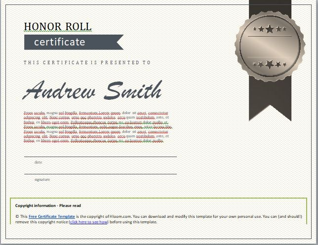 Honor Roll Certificate Template 11